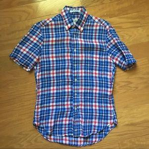 Gitman Bros. plaid linen short sleeve button down